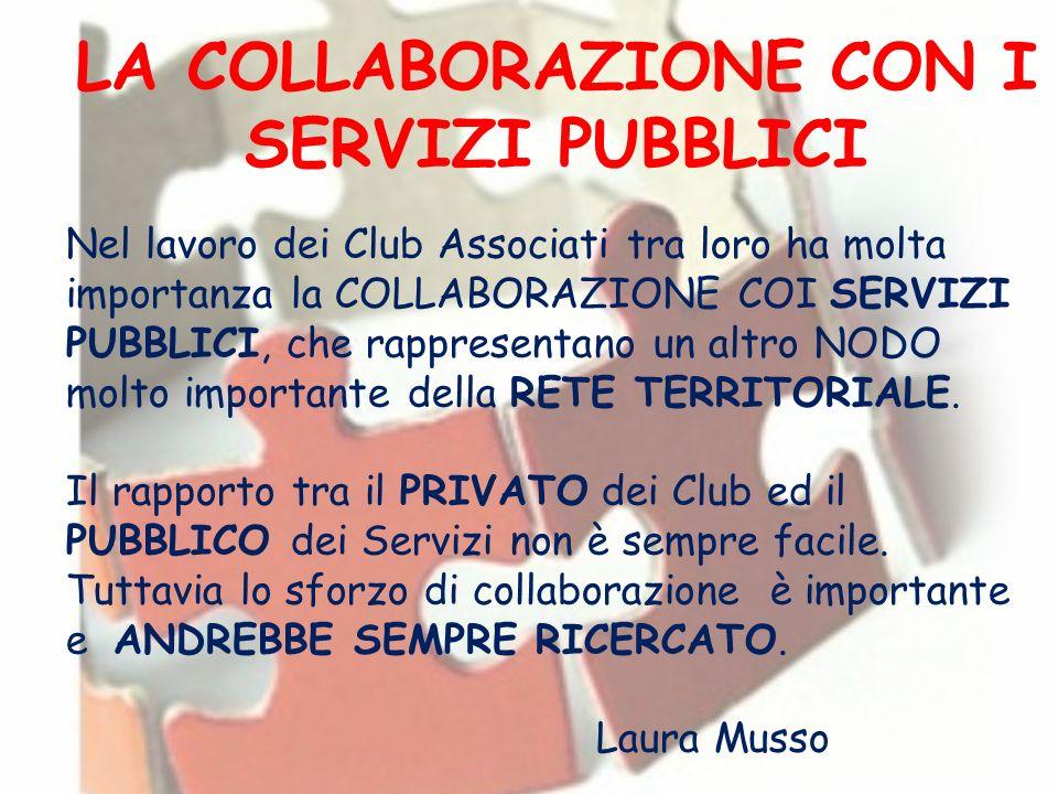 LA COLLABORAZIONE CON I SERVIZI PUBBLICI Nel lavoro dei Club Associati tra loro ha molta importanza la COLLABORAZIONE COI SERVIZI PUBBLICI, che rappre