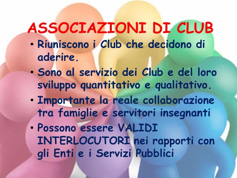 ASSOCIAZIONI DI CLUB Riuniscono i Club che decidono di aderire. Sono al servizio dei Club e del loro sviluppo quantitativo e qualitativo. Importante l