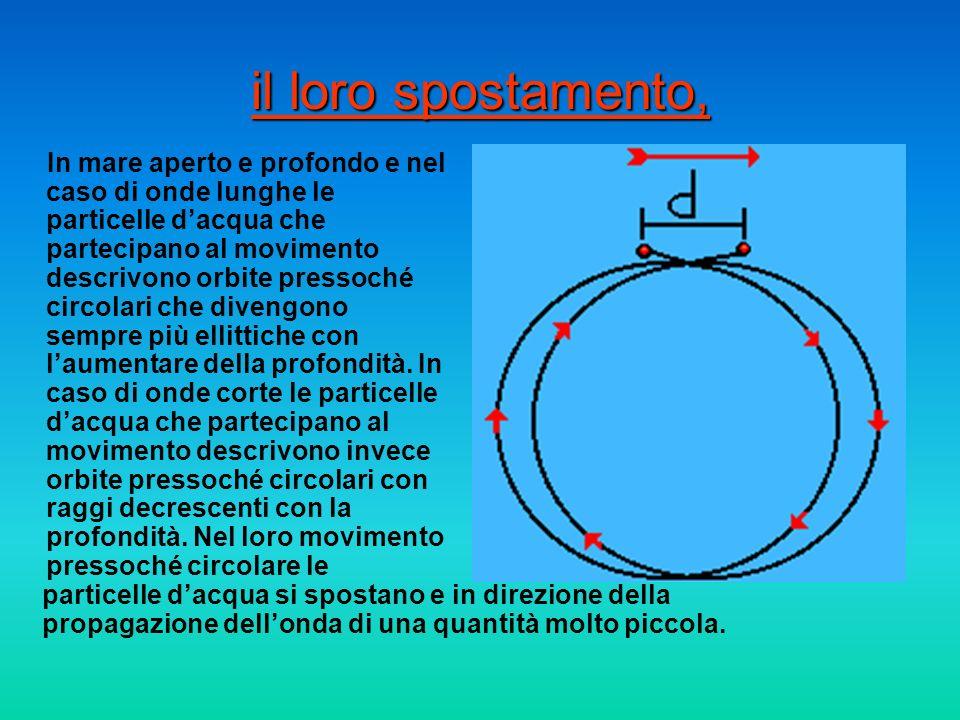 il loro spostamento, In mare aperto e profondo e nel caso di onde lunghe le particelle dacqua che partecipano al movimento descrivono orbite pressoché