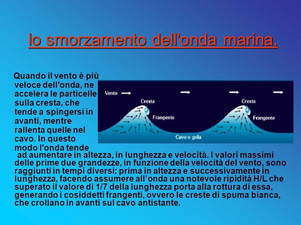 lo smorzamento dell'onda marina, ad aumentare in altezza, in lunghezza e velocità. I valori massimi delle prime due grandezze, in funzione della veloc