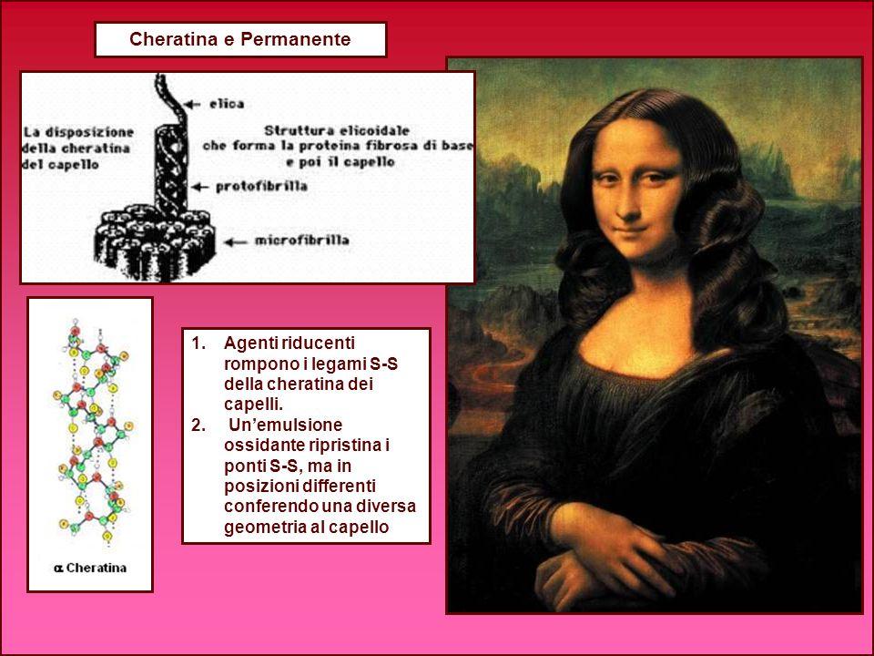 Cheratina e Permanente 1.Agenti riducenti rompono i legami S-S della cheratina dei capelli. 2. Unemulsione ossidante ripristina i ponti S-S, ma in pos