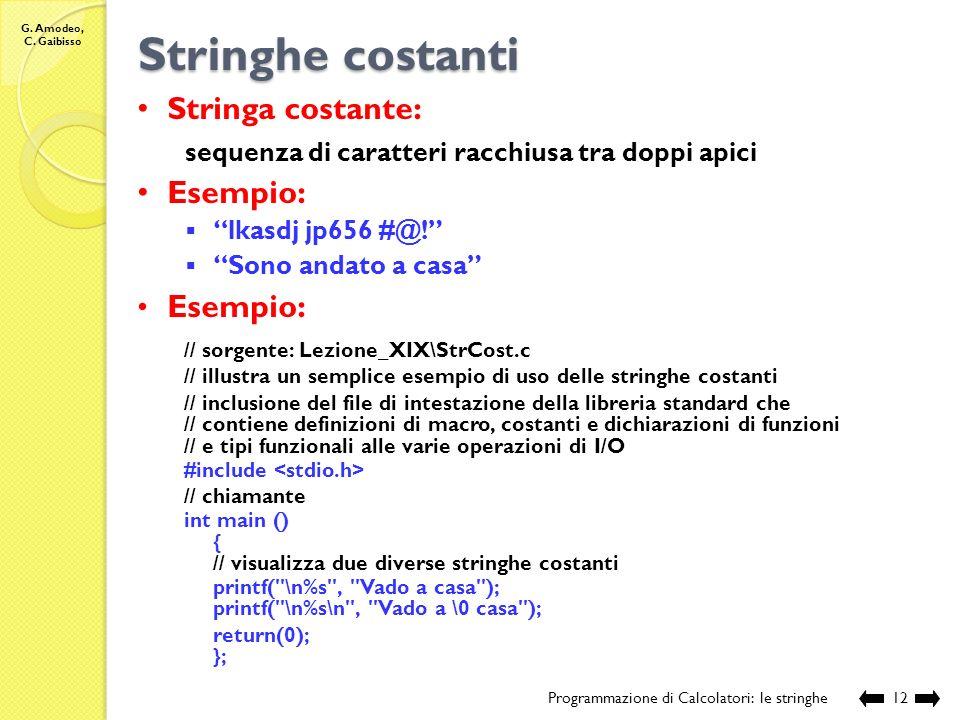 G. Amodeo, C. Gaibisso I/O di stringhe Programmazione di Calcolatori: le stringhe11 Esecuzione: