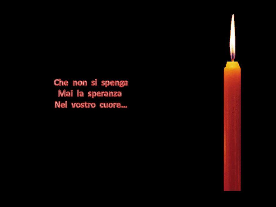 Con gli occhi lucidi e gonfi di lacrime, Il bimbo prese la candela della speranza, E riaccese tutte le altre candele