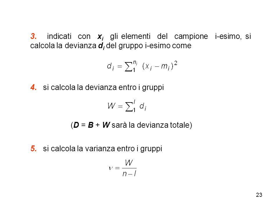 23 3. indicati con x i gli elementi del campione i-esimo, si calcola la devianza d i del gruppo i-esimo come 4. si calcola la devianza entro i gruppi
