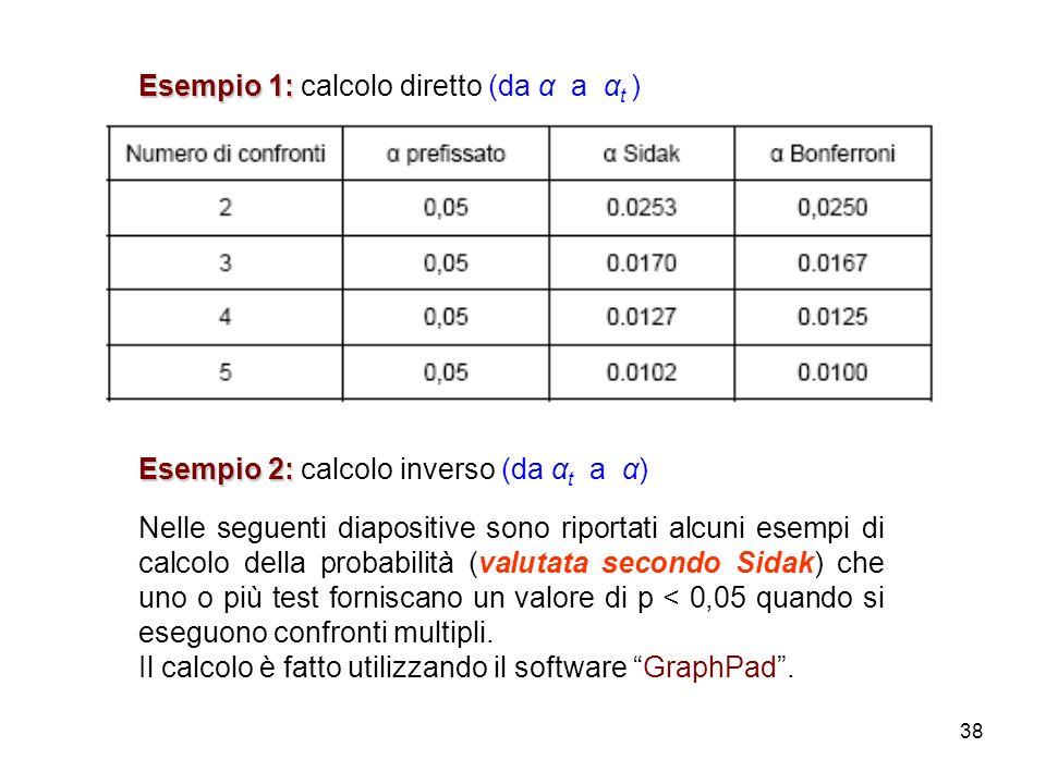 38 Esempio 1: Esempio 1: calcolo diretto (da α a α t ) Esempio 2: Esempio 2: calcolo inverso (da α t a α) Nelle seguenti diapositive sono riportati alcuni esempi di calcolo della probabilità (valutata secondo Sidak) che uno o più test forniscano un valore di p < 0,05 quando si eseguono confronti multipli.