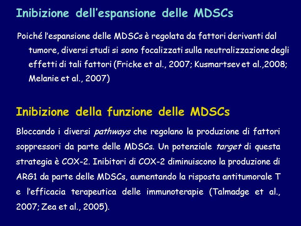 Poiché lespansione delle MDSCs è regolata da fattori derivanti dal tumore, diversi studi si sono focalizzati sulla neutralizzazione degli effetti di t