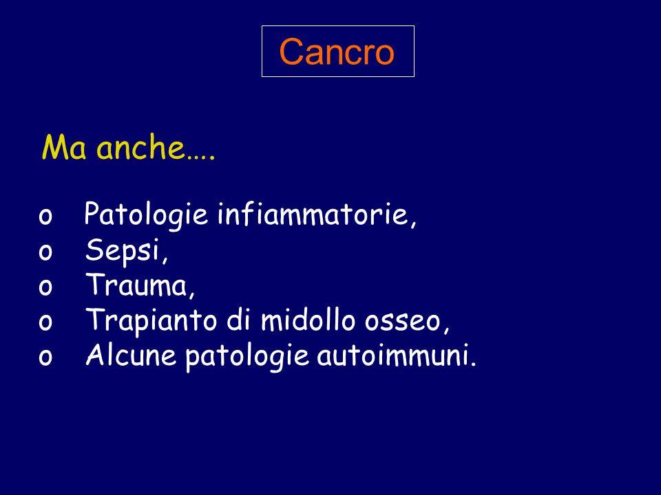 o Patologie infiammatorie, o Sepsi, o Trauma, o Trapianto di midollo osseo, o Alcune patologie autoimmuni. Cancro Ma anche….