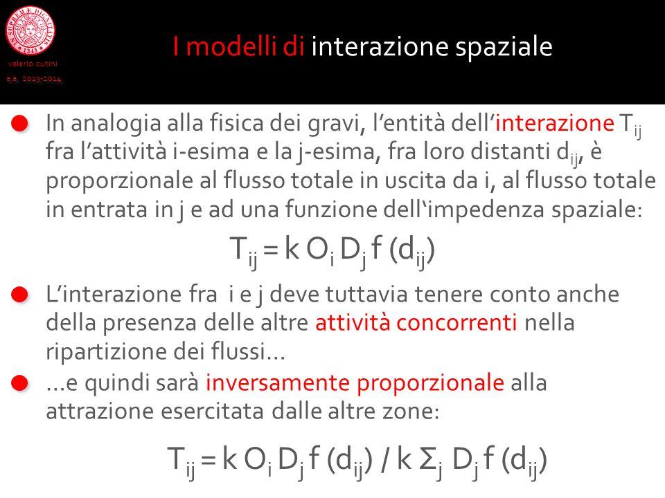 valerio cutini a.a. 2013-2014 In analogia alla fisica dei gravi, lentità dellinterazione T ij fra lattività i-esima e la j-esima, fra loro distanti d