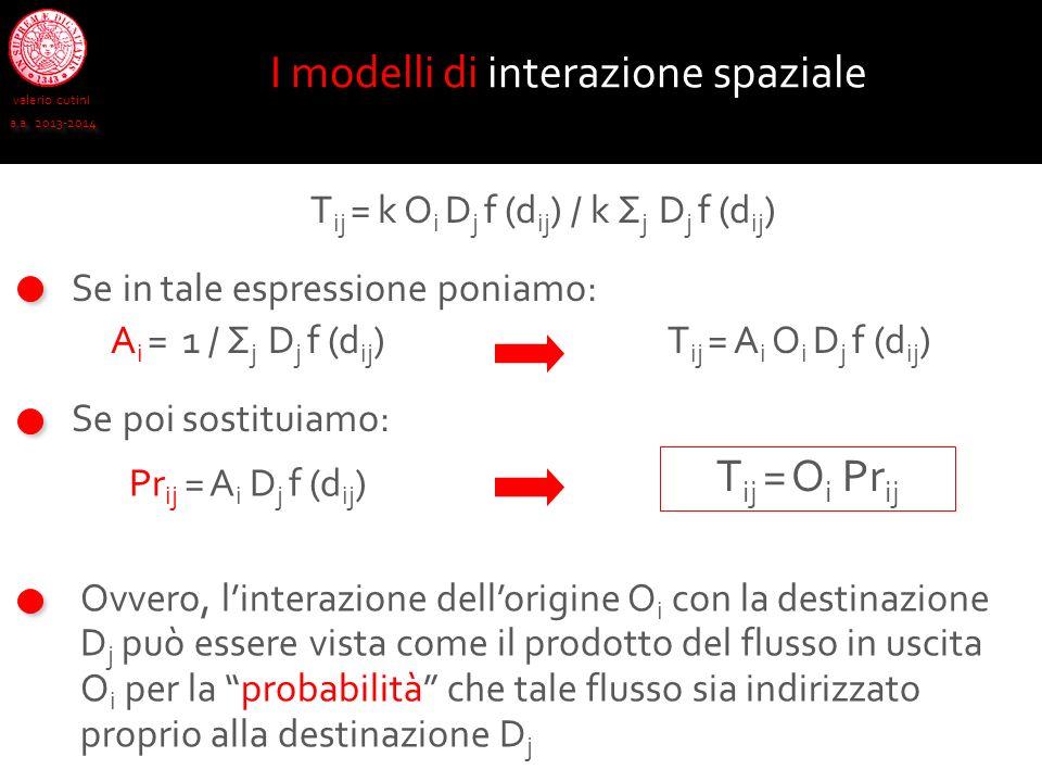 valerio cutini a.a. 2013-2014 Se in tale espressione poniamo: I modelli di interazione spaziale T ij = k O i D j f (d ij ) / k Σ j D j f (d ij ) A i =