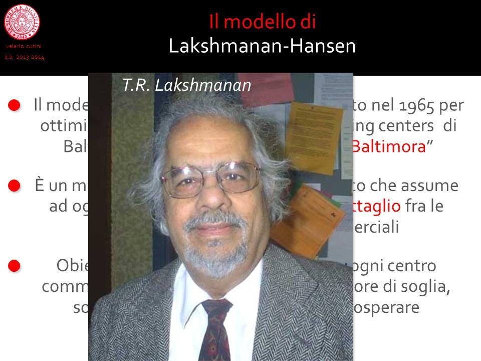 valerio cutini a.a. 2013-2014 Il modello di Lakshmanan-Hansen, studiato nel 1965 per ottimizzare la localizzazione degli shopping centers di Baltimora