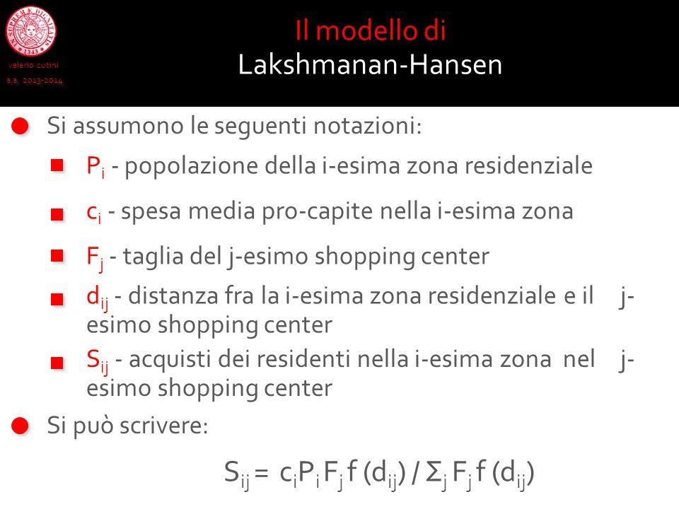 valerio cutini a.a. 2013-2014 Si assumono le seguenti notazioni: Il modello di Lakshmanan-Hansen P i - popolazione della i-esima zona residenziale c i