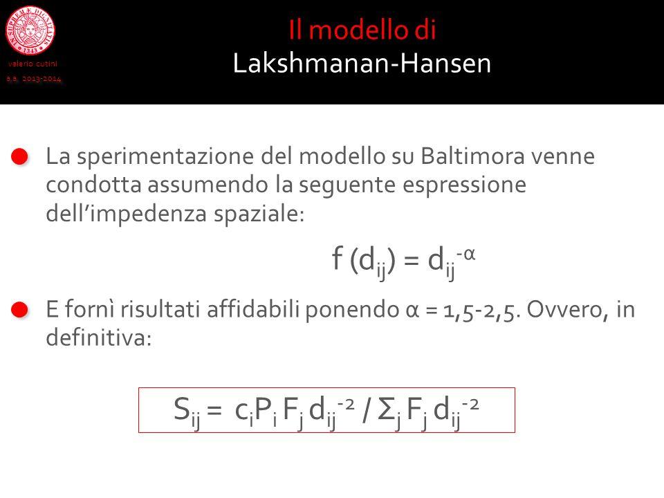 valerio cutini a.a. 2013-2014 Il modello di Lakshmanan-Hansen La sperimentazione del modello su Baltimora venne condotta assumendo la seguente espress