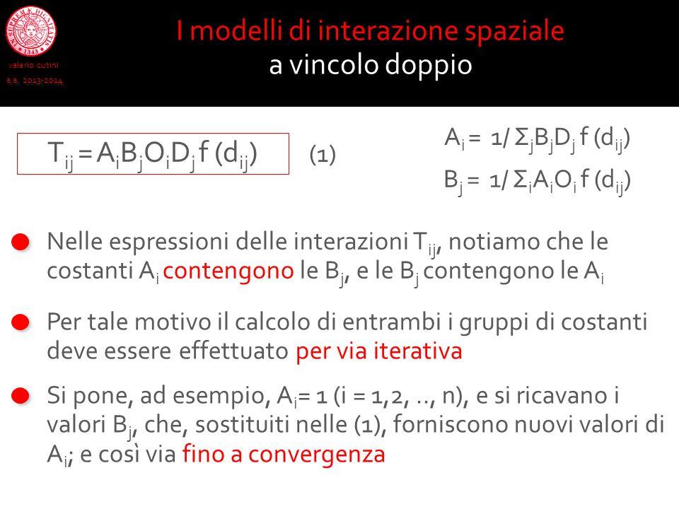 valerio cutini a.a. 2013-2014 I modelli di interazione spaziale a vincolo doppio Nelle espressioni delle interazioni T ij, notiamo che le costanti A i