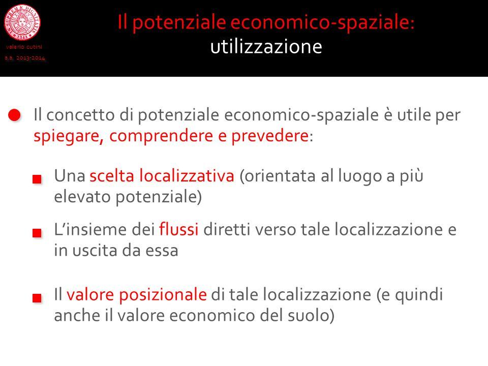 valerio cutini a.a. 2013-2014 Il concetto di potenziale economico-spaziale è utile per spiegare, comprendere e prevedere: Il potenziale economico-spaz