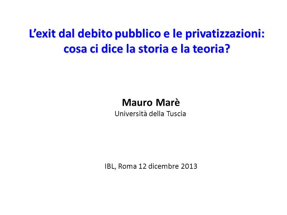 Lexit dal debito pubblico e le privatizzazioni: cosa ci dice la storia e la teoria? Mauro Marè Università della Tuscia IBL, Roma 12 dicembre 2013