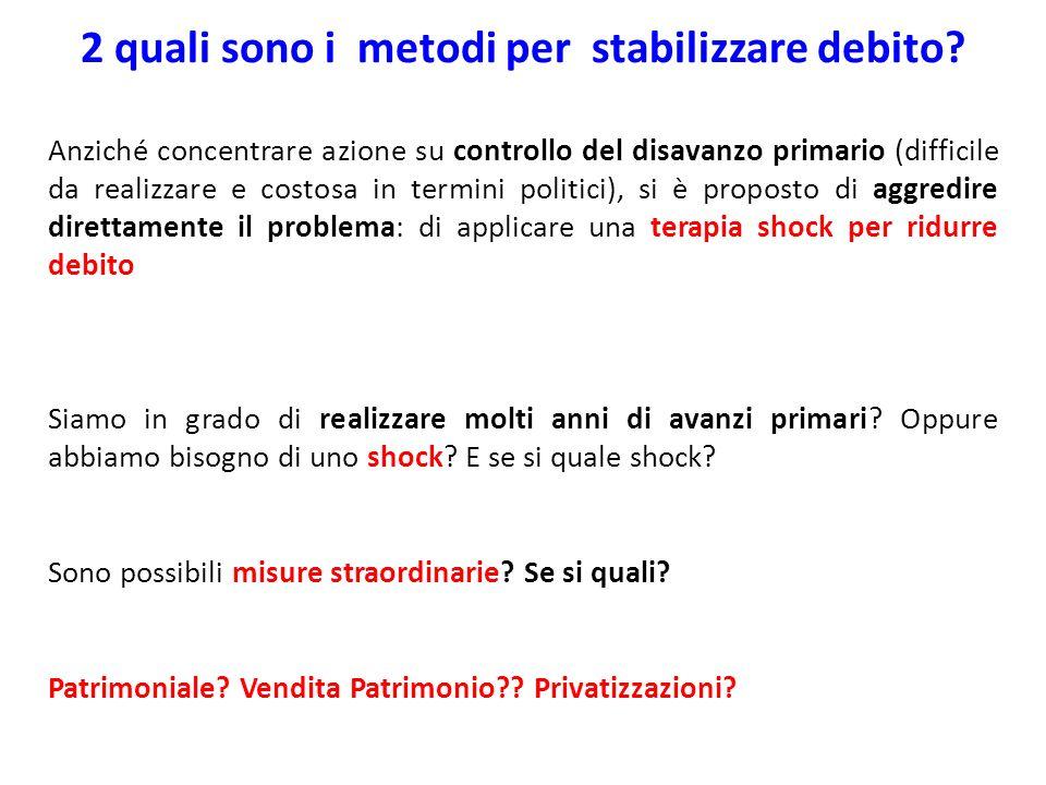 2 quali sono i metodi per stabilizzare debito? Anziché concentrare azione su controllo del disavanzo primario (difficile da realizzare e costosa in te