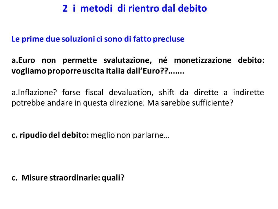 Le prime due soluzioni ci sono di fatto precluse a.Euro non permette svalutazione, né monetizzazione debito: vogliamo proporre uscita Italia dallEuro?
