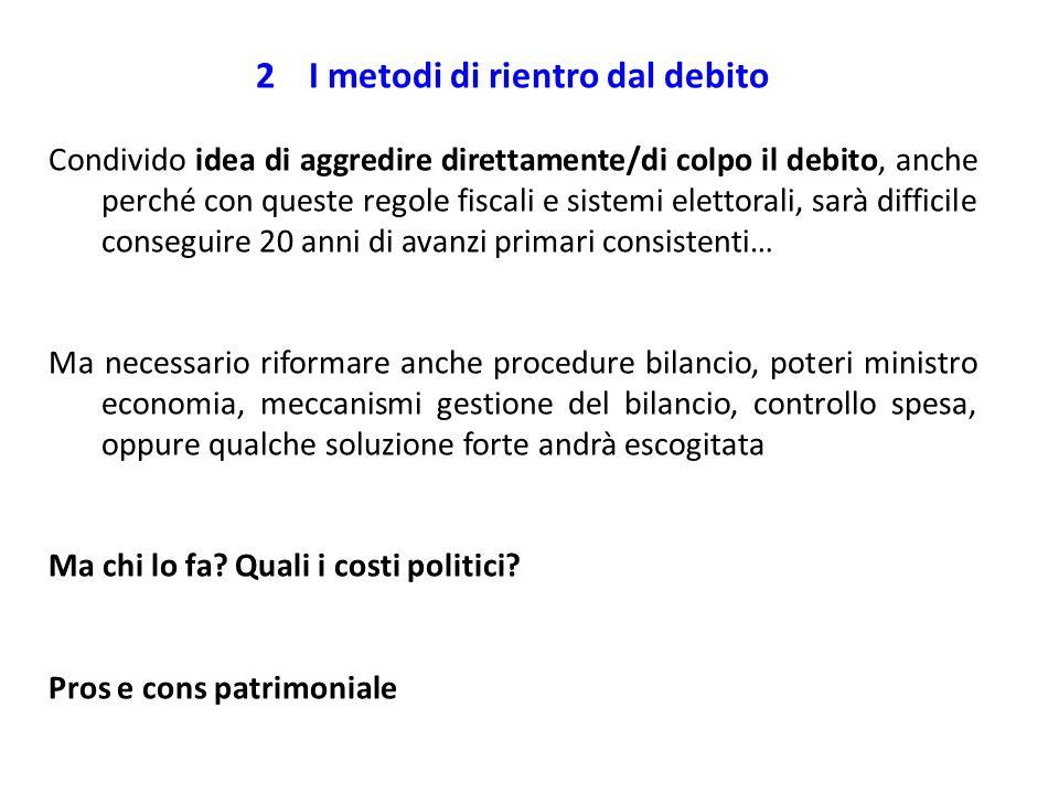 2I metodi di rientro dal debito Condivido idea di aggredire direttamente/di colpo il debito, anche perché con queste regole fiscali e sistemi elettora