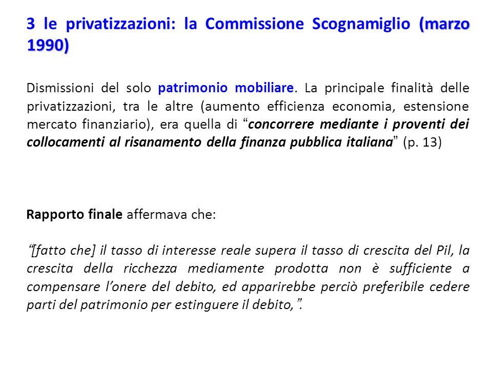 (marzo 1990) 3 le privatizzazioni: la Commissione Scognamiglio (marzo 1990) Dismissioni del solo patrimonio mobiliare. La principale finalità delle pr