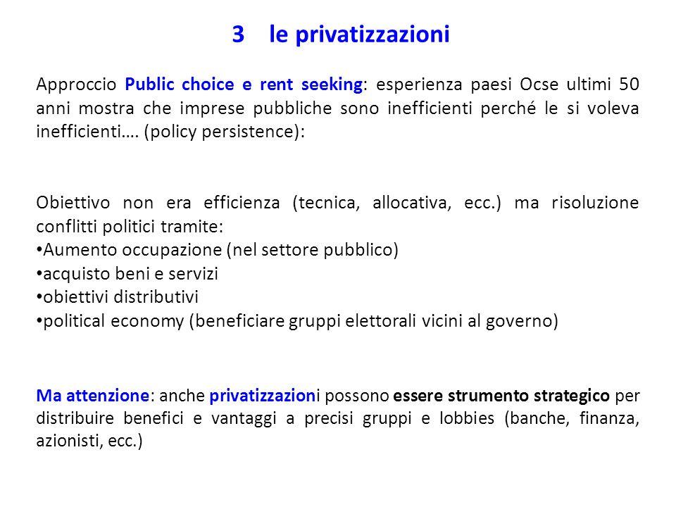 3 le privatizzazioni Approccio Public choice e rent seeking: esperienza paesi Ocse ultimi 50 anni mostra che imprese pubbliche sono inefficienti perch