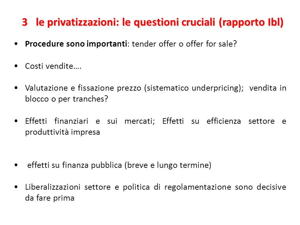 3 le privatizzazioni: le questioni cruciali (rapporto Ibl) 3 le privatizzazioni: le questioni cruciali (rapporto Ibl) Procedure sono importanti: tende