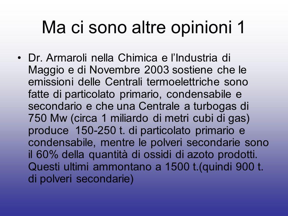 Ma ci sono altre opinioni 1 Dr. Armaroli nella Chimica e lIndustria di Maggio e di Novembre 2003 sostiene che le emissioni delle Centrali termoelettri