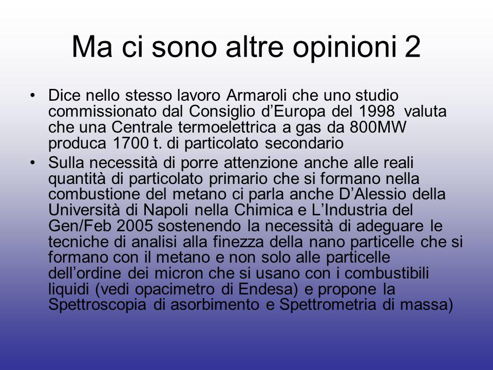 Ma ci sono altre opinioni 2 Dice nello stesso lavoro Armaroli che uno studio commissionato dal Consiglio dEuropa del 1998 valuta che una Centrale termoelettrica a gas da 800MW produca 1700 t.