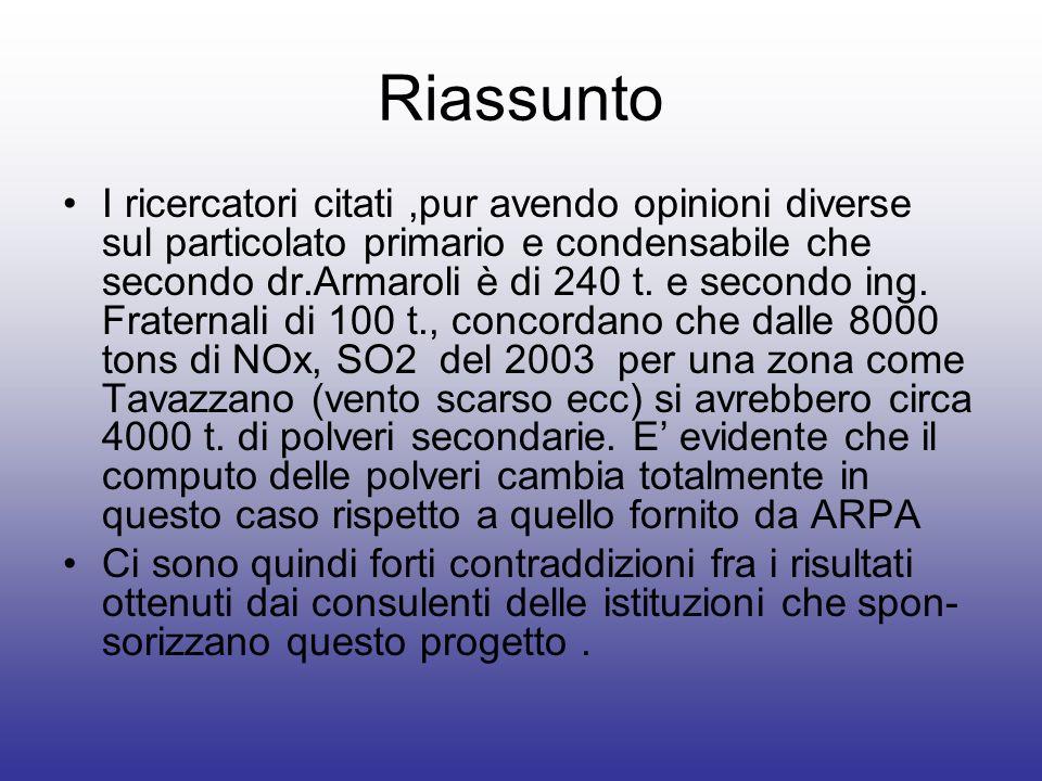 Riassunto I ricercatori citati,pur avendo opinioni diverse sul particolato primario e condensabile che secondo dr.Armaroli è di 240 t. e secondo ing.