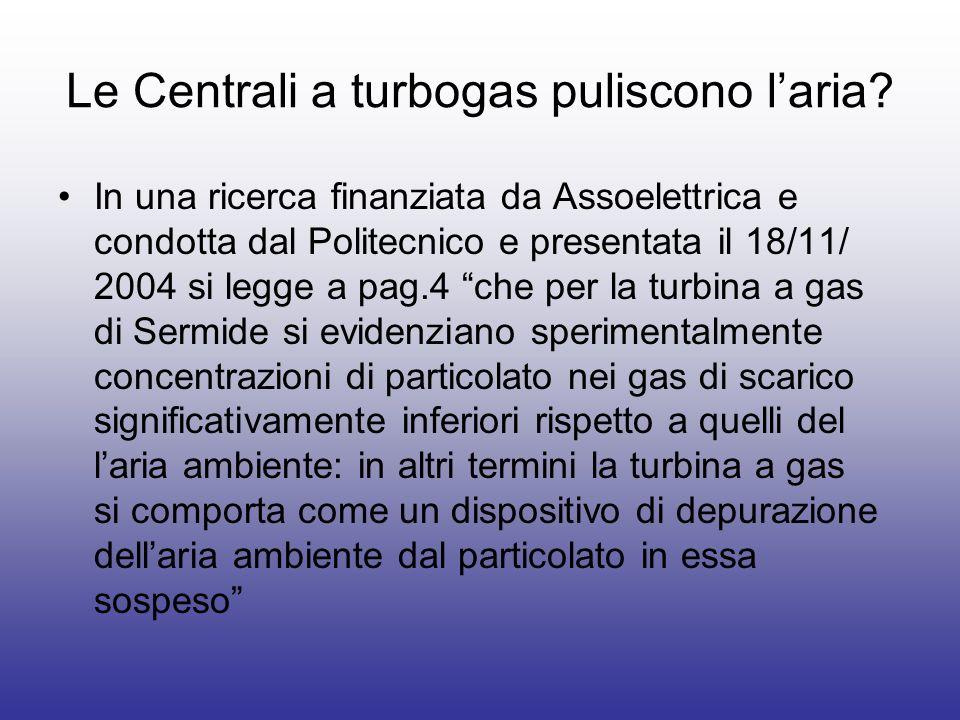 Le Centrali a turbogas puliscono laria? In una ricerca finanziata da Assoelettrica e condotta dal Politecnico e presentata il 18/11/ 2004 si legge a p