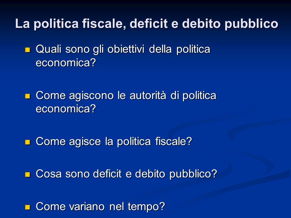 Quali sono gli obiettivi della politica economica? Quali sono gli obiettivi della politica economica? Come agiscono le autorità di politica economica?