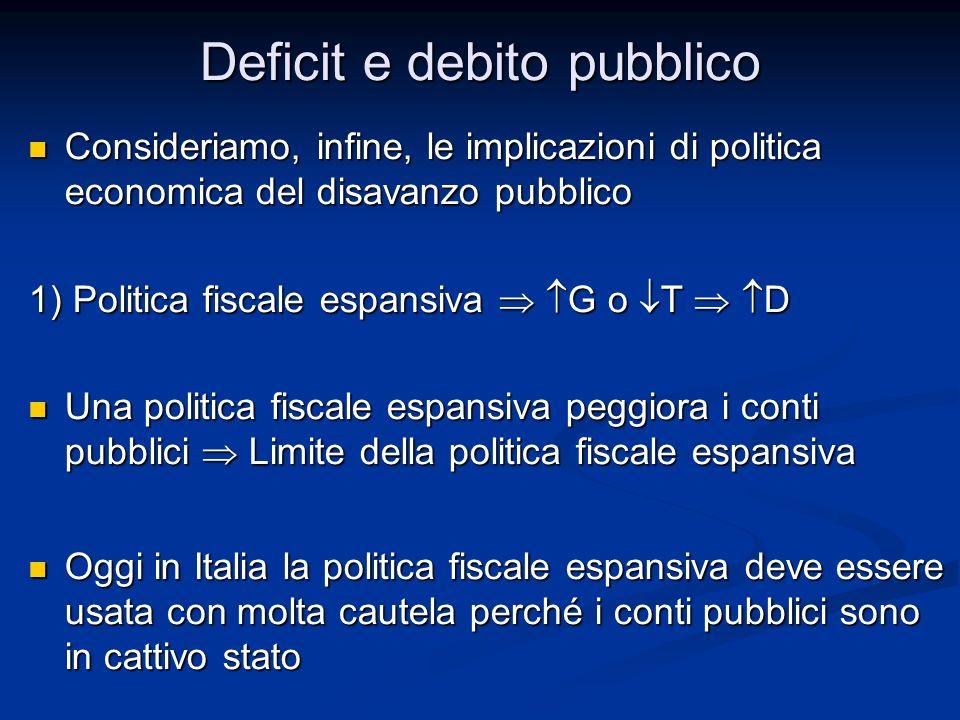 Consideriamo, infine, le implicazioni di politica economica del disavanzo pubblico Consideriamo, infine, le implicazioni di politica economica del dis
