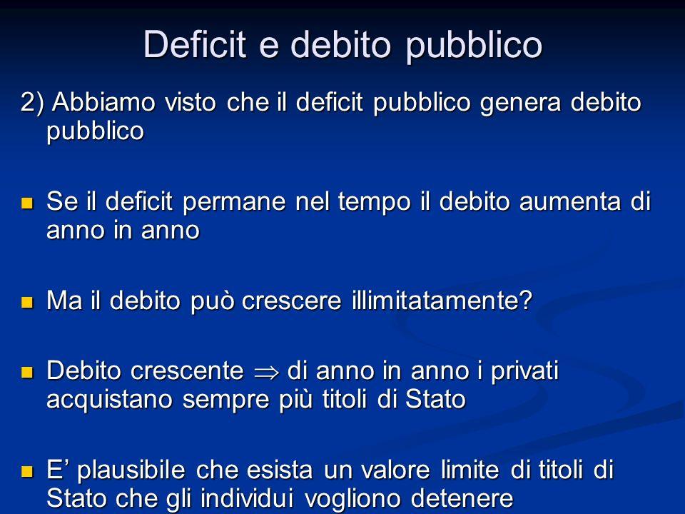 2) Abbiamo visto che il deficit pubblico genera debito pubblico Se il deficit permane nel tempo il debito aumenta di anno in anno Se il deficit perman