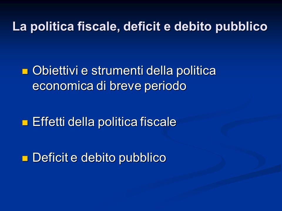Obiettivi e strumenti della politica economica di breve periodo Obiettivi e strumenti della politica economica di breve periodo Effetti della politica