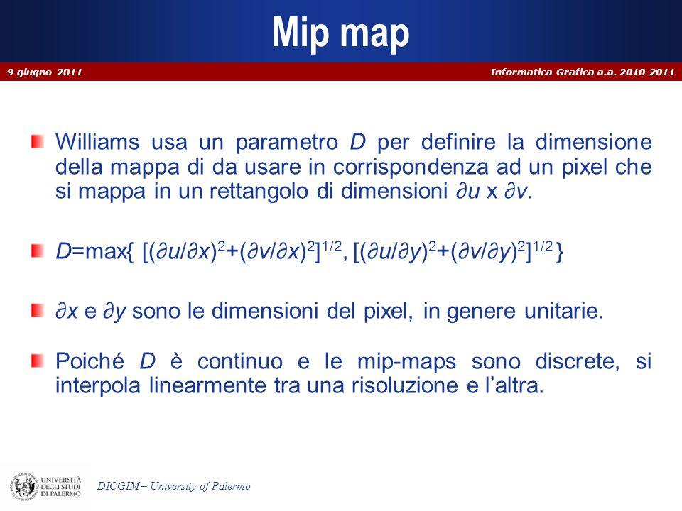 Informatica Grafica a.a. 2010-2011 DICGIM – University of Palermo Mip map Williams usa un parametro D per definire la dimensione della mappa di da usa