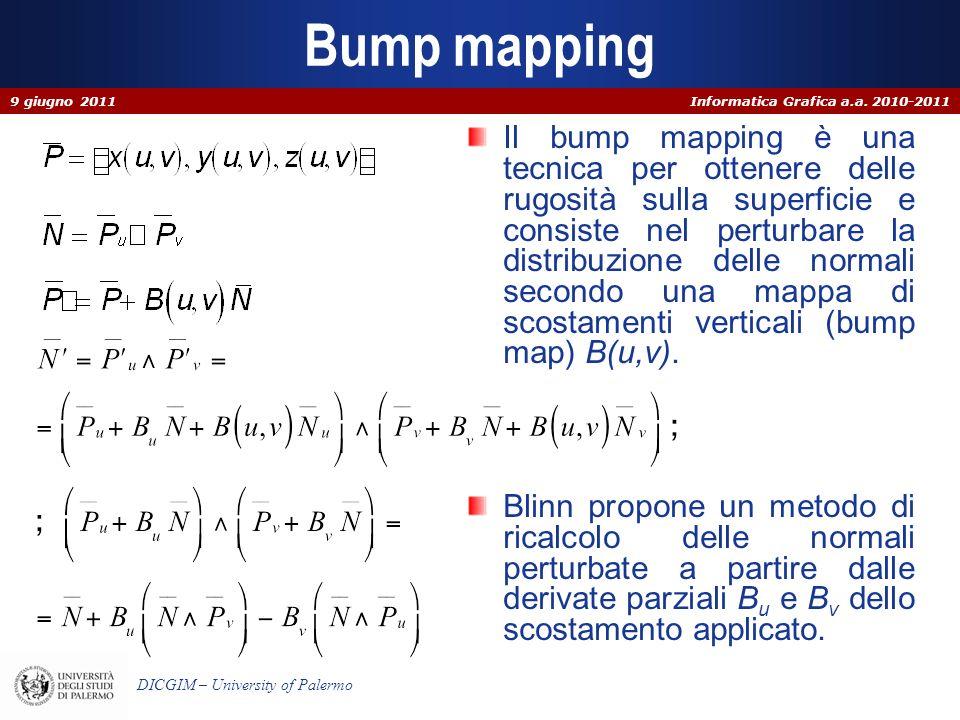 Informatica Grafica a.a. 2010-2011 DICGIM – University of Palermo Bump mapping Il bump mapping è una tecnica per ottenere delle rugosità sulla superfi