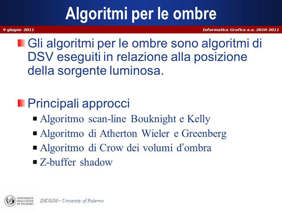 Informatica Grafica a.a. 2010-2011 DICGIM – University of Palermo Algoritmi per le ombre Gli algoritmi per le ombre sono algoritmi di DSV eseguiti in