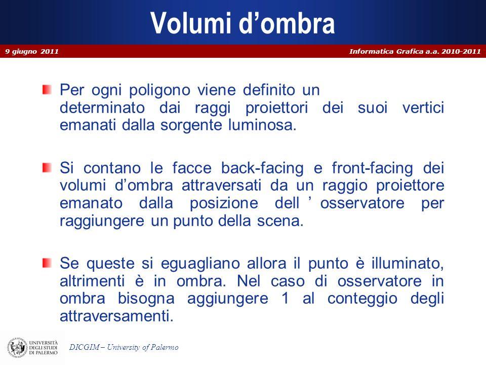 Informatica Grafica a.a. 2010-2011 DICGIM – University of Palermo Volumi dombra Per ogni poligono viene definito un volume dombra determinato dai ragg