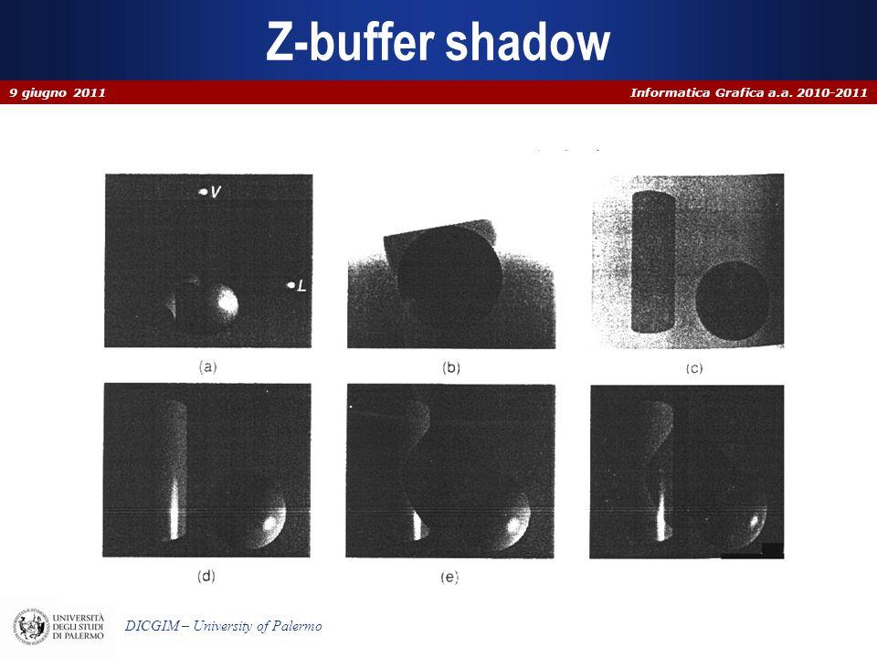 Informatica Grafica a.a. 2010-2011 DICGIM – University of Palermo Z-buffer shadow 9 giugno 2011