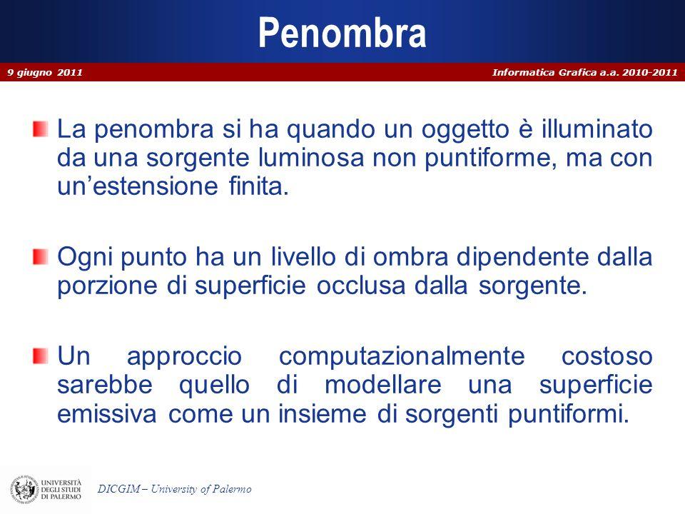 Informatica Grafica a.a. 2010-2011 DICGIM – University of Palermo Penombra La penombra si ha quando un oggetto è illuminato da una sorgente luminosa n