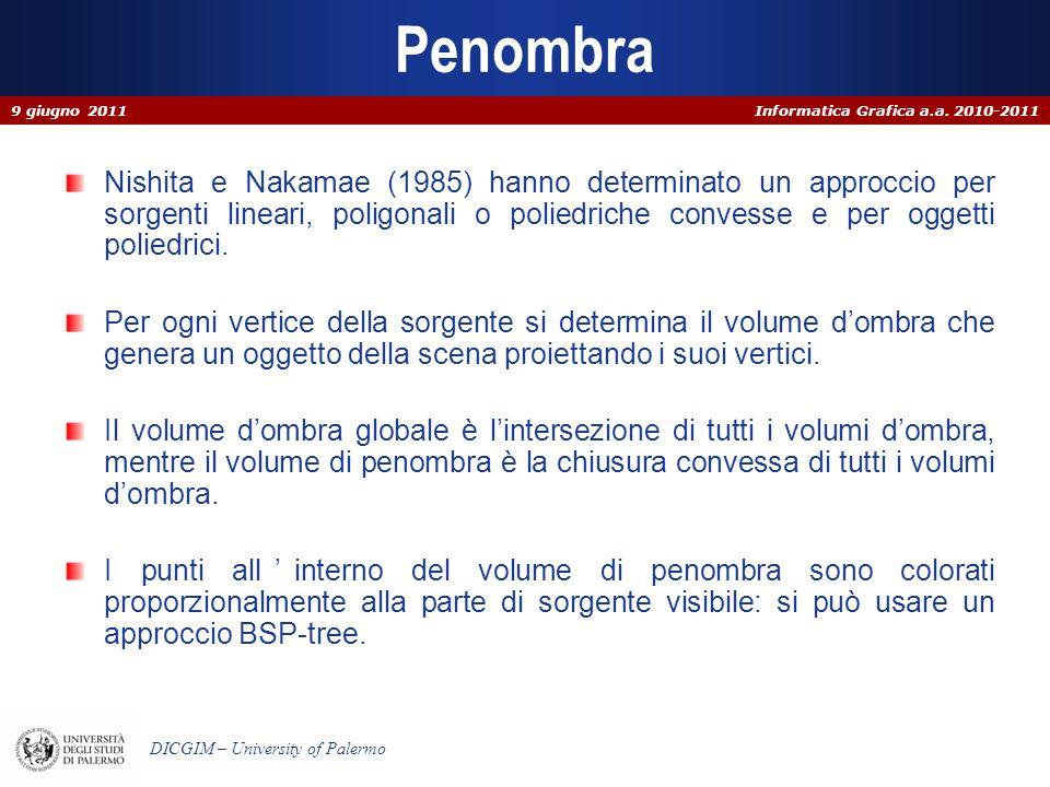 Informatica Grafica a.a. 2010-2011 DICGIM – University of Palermo Penombra Nishita e Nakamae (1985) hanno determinato un approccio per sorgenti linear