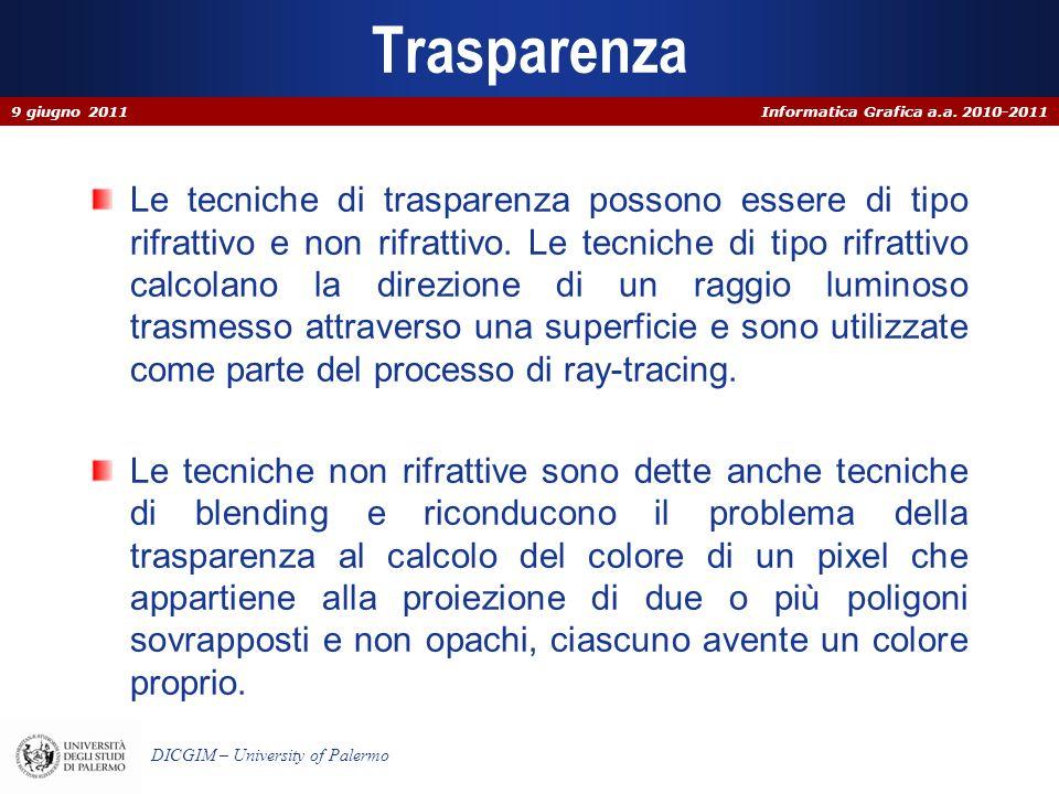 Informatica Grafica a.a. 2010-2011 DICGIM – University of Palermo Trasparenza Le tecniche di trasparenza possono essere di tipo rifrattivo e non rifra