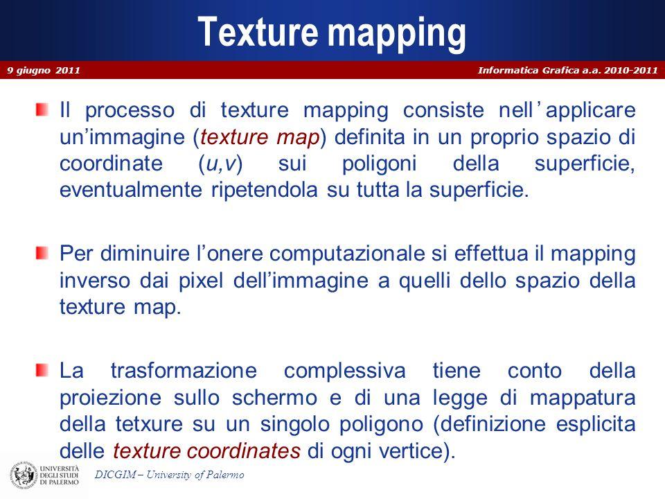 Informatica Grafica a.a. 2010-2011 DICGIM – University of Palermo Texture mapping Il processo di texture mapping consiste nellapplicare unimmagine (te