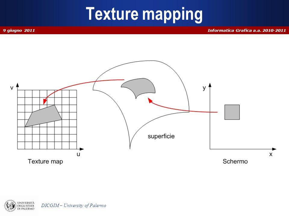 Informatica Grafica a.a. 2010-2011 DICGIM – University of Palermo Texture mapping 9 giugno 2011