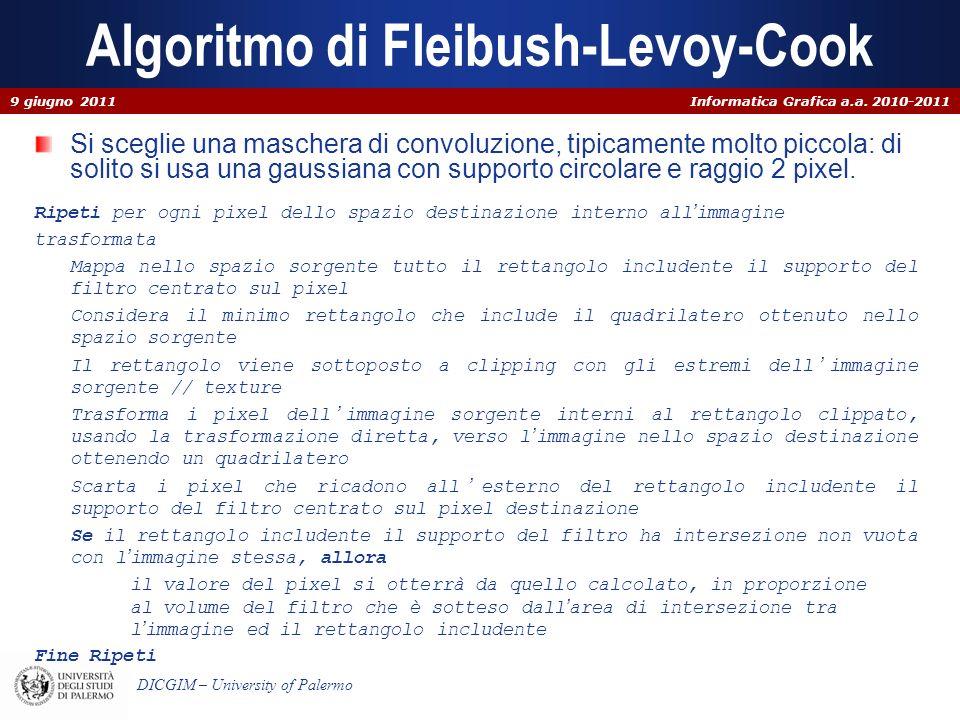 Informatica Grafica a.a. 2010-2011 DICGIM – University of Palermo Algoritmo di Fleibush-Levoy-Cook Si sceglie una maschera di convoluzione, tipicament