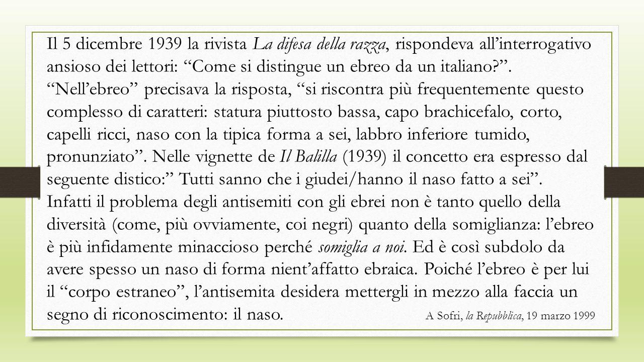 Il 5 dicembre 1939 la rivista La difesa della razza, rispondeva allinterrogativo ansioso dei lettori: Come si distingue un ebreo da un italiano?. Nell