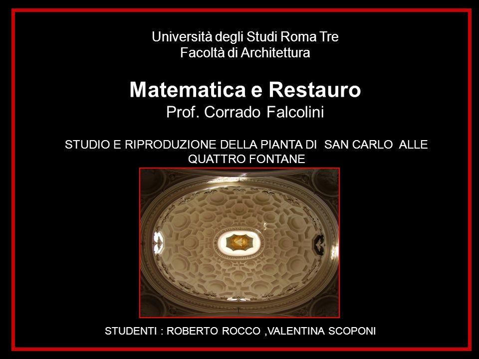 Università degli Studi Roma Tre Facoltà di Architettura Matematica e Restauro Prof. Corrado Falcolini STUDIO E RIPRODUZIONE DELLA PIANTA DI SAN CARLO