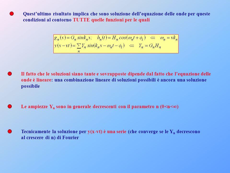 Questultimo risultato implica che sono soluzione dellequazione delle onde per queste condizioni al contorno TUTTE quelle funzioni per le quali Il fatt