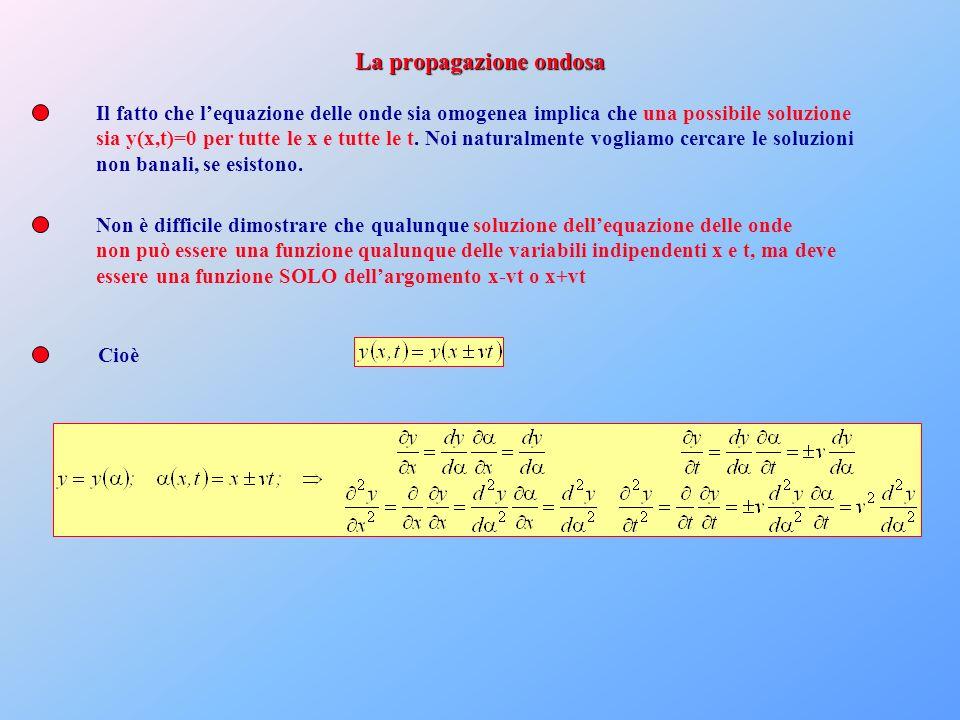 Il fatto che lequazione delle onde sia omogenea implica che una possibile soluzione sia y(x,t)=0 per tutte le x e tutte le t. Noi naturalmente vogliam