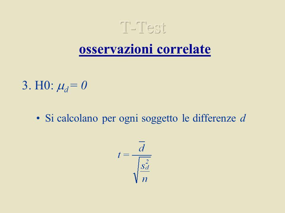 3. H0: d = 0 Si calcolano per ogni soggetto le differenze d
