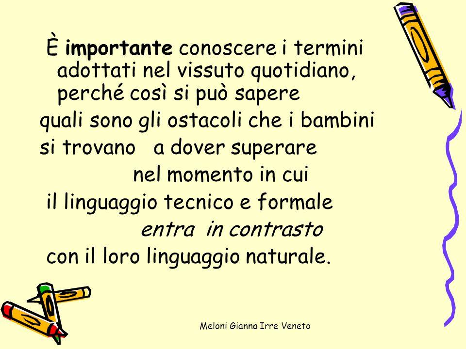 Meloni Gianna Irre Veneto È importante conoscere i termini adottati nel vissuto quotidiano, perché così si può sapere quali sono gli ostacoli che i ba